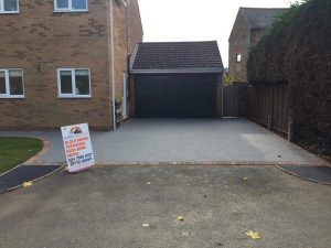 Resin Bound Driveway with New Turf Lawn in Crick